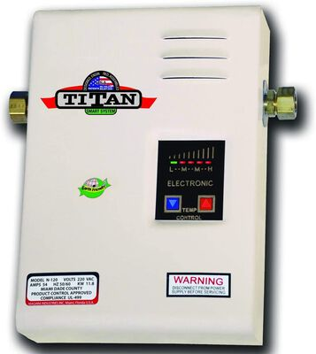 5. TITAN 54 Max AMPS White Corded N-120 7.93lbs Electric Tankless Water Heater