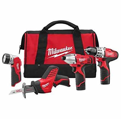 5. Milwaukee 2498-24 M12 3/8 Drvdrl Lithium-ion Highly-Durable 4 Power Tool Combo Kit