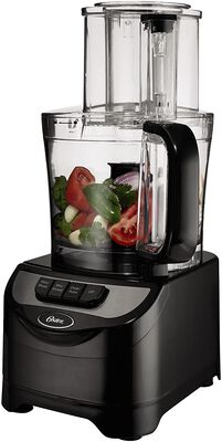 8. OSTER 500W Black 10-Cup FBSTFP1355 Stainless Steel Black 5'' Wide Large Mouth Food Processor