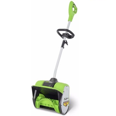 10. GREENWORKS 2600802 Corded 8 AMP 12Inch 14lbs Lightweight Auxiliary Handle Electric Snow Blower