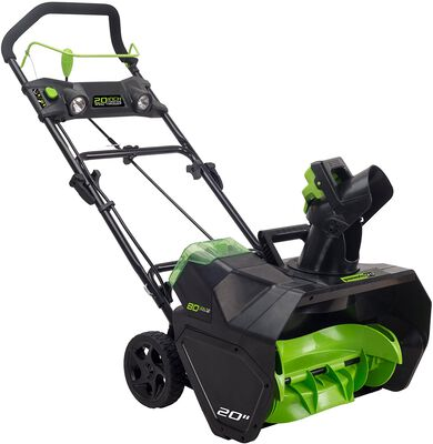 4. GREENWORKS Pro 2601302 20Inch 80V 30lbs Quiet Brushless Motor Cordless Electric Snow Thrower