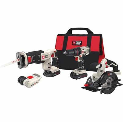 6. PORTER-CABLE Ergonomic PCCK616L4 4 Tool Reliable Cordless Drill Combo Kit Power Tool