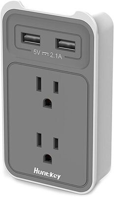 6. Huntkey 2-Outlet USB Charger, SMD407