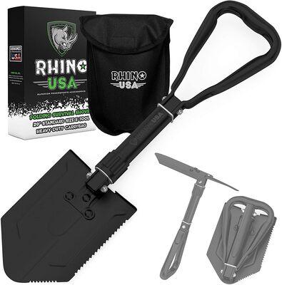 8. RHINO USA Heavy-Duty Carbon Steel Foldable Survival Military Style Snow Shovel w/Pick