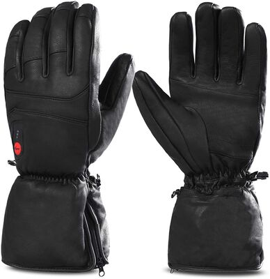 3. SAVIOR HEAT Superior Material Genuine Leather Thermal Heated Gloves for Hunting, Ski, Riding