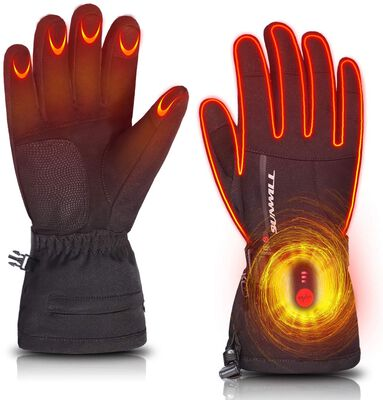 6. SUN Rechargeable Thermal Heating Gloves Electric Heated Gloves for Skiing, Snowboarding