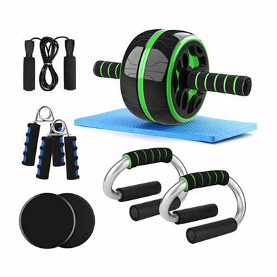 3. Odoland 6-in-1 Large Home Gym Workout Set for Body Training Ab Wheel Roller Set