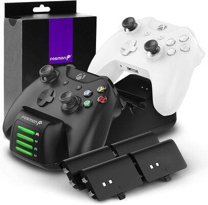 2. Fosmon Controller Charger - Four Rechargeable Battery Packs, Black