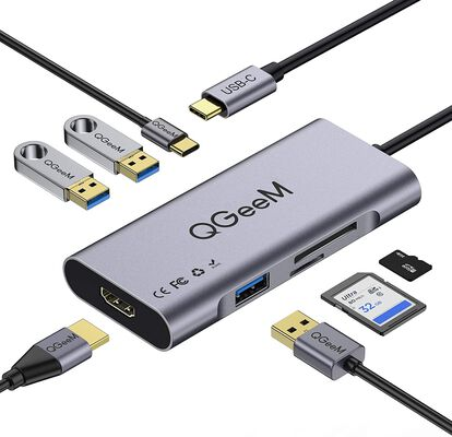 10. QGeeM USB C Hub Adapter, 7 in 1 with Three USB 3.0 Ports