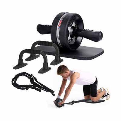 10. EnterSports 6-in-1 Ab Roller Wheel Home Gym Equipment for Men & Women Abdominal Exercise