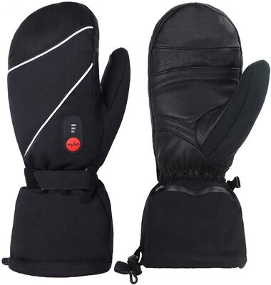 4. SAVIOR HEAT 2200MAH Outdoor Sports Mittens Electric Heated Gloves for Men for Skiing, Hiking