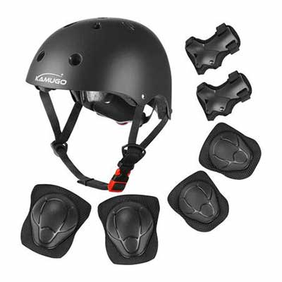 3. KAMUGO Adjustable Knee Wrist Elbow Pads Helmet for Kids 3-8 Years Boys Girls