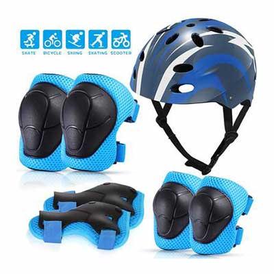 6. MOVTOTOP for Kids Helmet & Knee Pad Set Toddler Ages 3-8Adjustable Protective Set