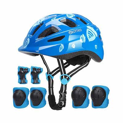 8. GROTTICO CPSC Safety Toddler Kids Ultra-Light Helmet w/Knee Elbow Wrist Pads