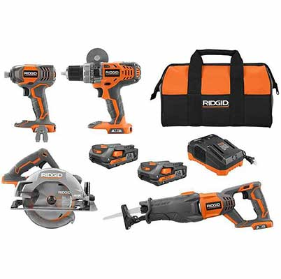 3. Ridgid 4-Tool w/2.0 Ah Batteries & Contractor's Bag 18V Lithium-Ion Cordless Combo Kit