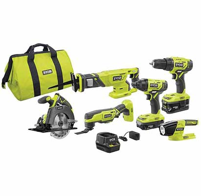 4. Ryobi 6 Tools Drill/Driver LED Worklight 18V 4Ah P1819 One Lithium Power Combo Kit
