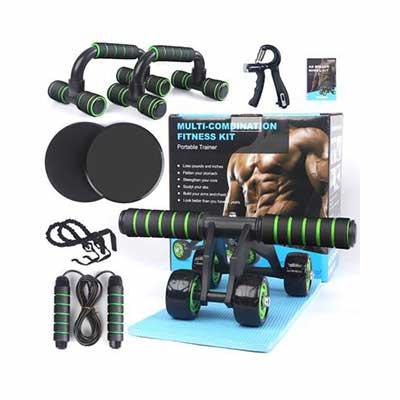 6. Bafada 7-in-1 Ab Wheel Roller Kit Pro w/Hand Gripper push-Up Bar & Jump Rope