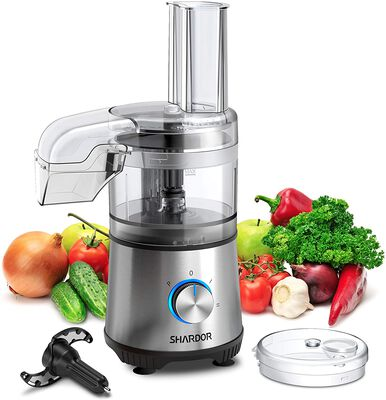 5. SHARDOR 2-Speed 350W 3.5-Cup Silver Vegetable Chopper for Mixing Shredding & Slicing