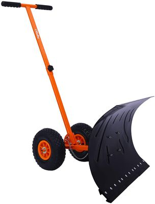1. OHUHU Heavy-Duty Metal Adjustable Large Blade Efficient Snow Shovel for Walkway & Driveway