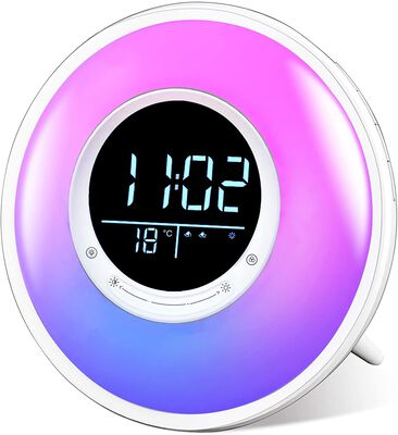 6. FiveHome Sunrise Wake Up Alarm Clock with Temperature Display